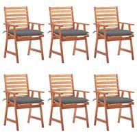 vidaxl sillas comedor de jardin y cojines 6 uds madera maciza acacia