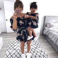 2020 summer family clothes mother daughter women girl short sleeve floral mini mom dress kids child outfits mum sister baby girl