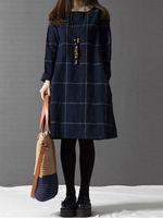 casual mujer tela escocesa de bolsillo de algodon vestido