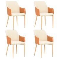 vidaxl sillas de comedor 4 unidades tela marron y crema