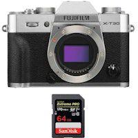 fujifilm x-t30 silver  sandisk 64gb extreme pro uhs-i sdxc 170 mbs  fujifilm np-w126s  2 anos de garantia
