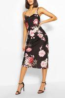 vestido maxi floral en saten negro