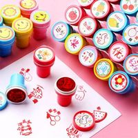warmom 10pcsset ink pad stamp kids toys cartoon printing set scrapbooking accessories child early educational toys kids gifts