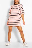 vestido estilo camiseta ancho a rayas rosa palido