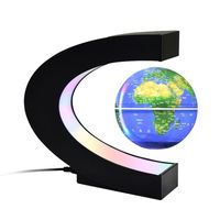 globo flotante con base led multicolor creativo 4 pulgadas en forma de c levitacion magnetica antigravedad mapa del mundo giratorio para ninos regalo decoracion de escritorio de oficina en casa ensenanza demostracion