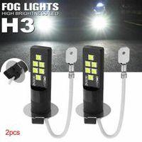2 pcs h3 3030 12smd led fog light bulb lights h3 universal fog light high bright led bulb car lamp 6000k white dc 12v light bulb