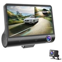 3 lens wdr dash camera 4 inch display hd 1080p car dvr video recorder 170 degree wide angle with water-resistant rear camera -  black