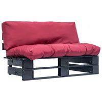 vidaxl sofa de jardin de pales cojines rojos madera de pino