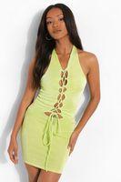 minivestido sensual texturizado con cordones petite verde amarillo