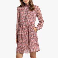 vestido corto de manga larga con estampado de flores