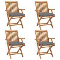 vidaxl sillas de jardin plegables 4 uds madera maciza teca con cojines