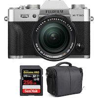 fujifilm x-t30  xf 18-55mm f28-4 r lm ois silver  sandisk 256gb uhs-i sdxc 170 mbs  bolsa  2 anos de garantia