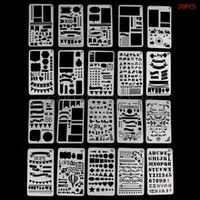 20pcs bullet journal stencil set plastic planner diy drawing template diary decor craft drop shipping