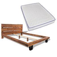 vidaxl cama con colchon viscoelastico madera acacia maciza 140x200 cm