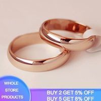 high quality 4mm simple smooth halo ring fine rose gold ring mens and womens exclusive couple wedding rings anniversary gift