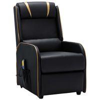 vidaxl sillon de masaje reclinable cuero sintetico negro y dorado