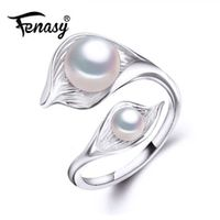 fenasy freshwater natural double pearl ring for womenbohemia fashion statement cocktail s925 sterling silver leaf ring 2018 new