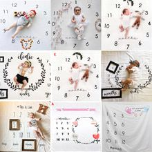 NEW Baby Monthly Growth Milestone Blanket photography props Newborn Background Cloth Commemorate Rug Girls Blanket Kids Shooting