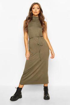 Roll Neck Sleeveless Midaxi Dress, Verde