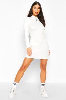 Petite Zip Up Ribbed Mini Dress, Blanco