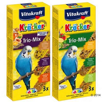 Vitakraft Kräcker galletas Trio-Mix para periquitos - 2 x Huevo/Albaricoque/Miel