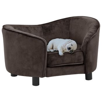 vidaXL Sofá para perro felpa marrón 69x49x40 cm