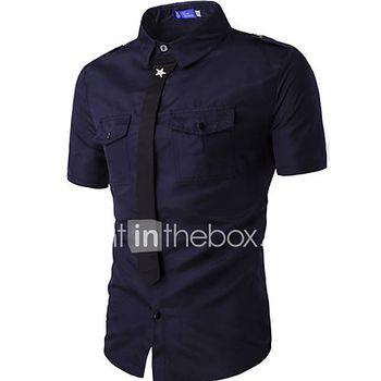 Hombre Simple Casual/Diario Verano Camisa,Cuello Camisero Un Color Manga Corta Algodón Azul / Blanco / Negro / Verde Medio