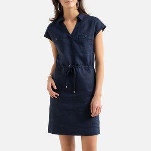 Vestido recto de lino, manga corta