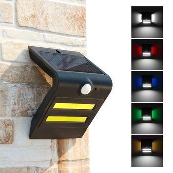 Lámpara de pared con detección de movimiento solar IP65 Tres modos de iluminación Fuente de luz principal Luz blanca + Luz de atmósfera