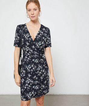 Vestido cruzado estampado floral - ANAIS - 34 - Negro - Mujer - Etam