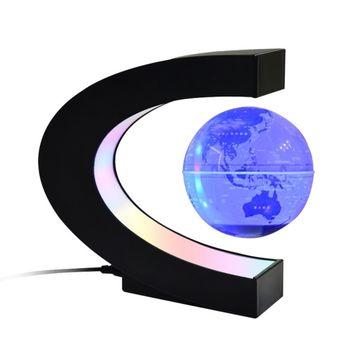 Globo flotante con base LED multicolor Creativo 4 pulgadas en forma de C Levitación magnética antigravedad Mapa del mundo giratorio para niños Regalo Decoración de escritorio de oficina en casa Enseñanza Demostración